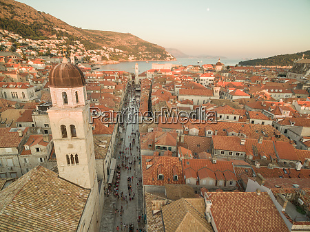aerial view of old city of