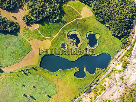 aerial view of lakes called sarena