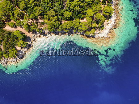 aerial view of bay on lastovo