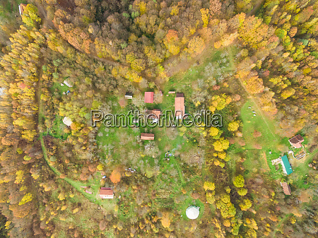 aerial view of autumnal blatusa eco