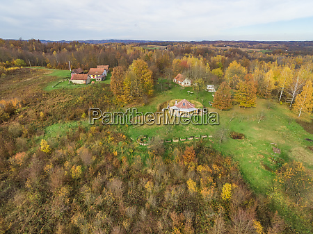 aerial view of houses in nature