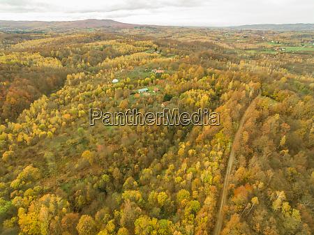 aerial panoramic view of rural village