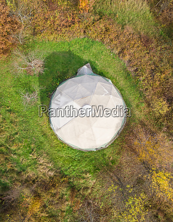 aerial abstract view of white octagonal