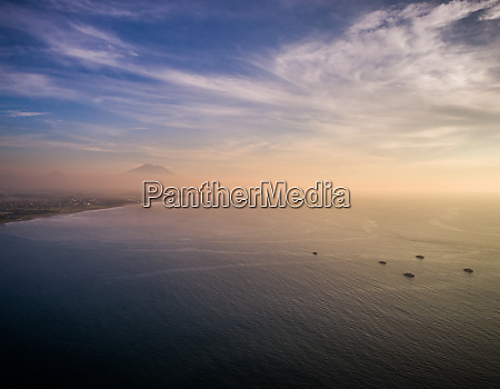 aerial panoramic view of sea yachts