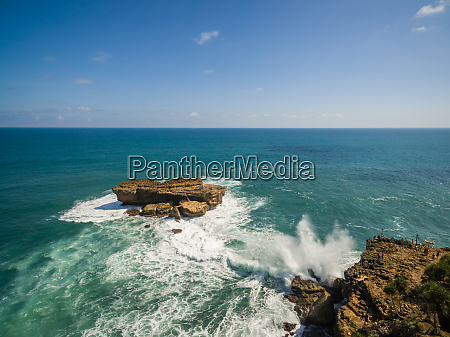 aerial view of rock formation in