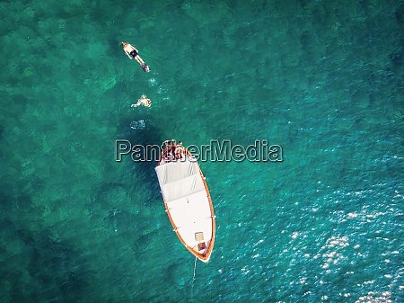 aerial view of people swimming from