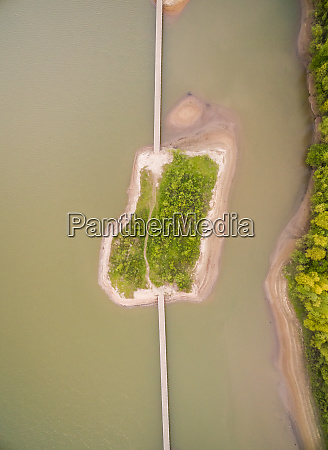 aerial view of natural sand island