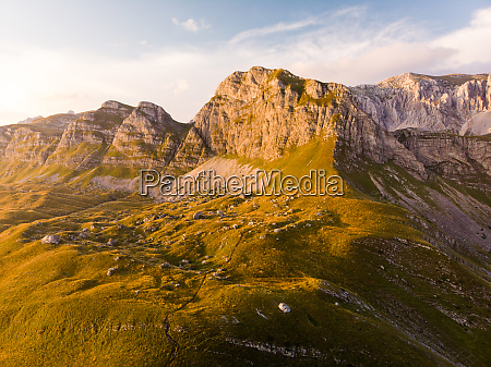 aerial view of durmitor mountains from
