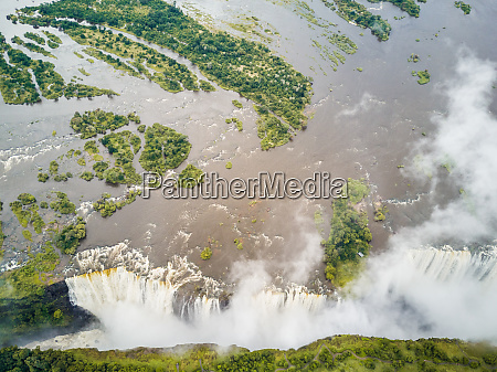 aerial view of victoria falls at