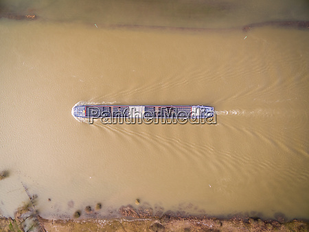 aerial view of cargo boat transporting