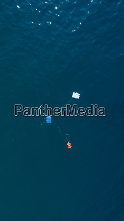aerial view of buoys in the