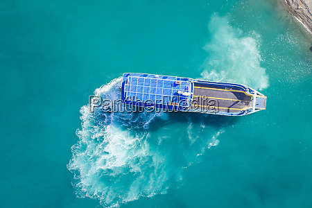 aerial view of a car ferry