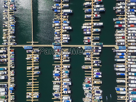 aerial view of an harbour in