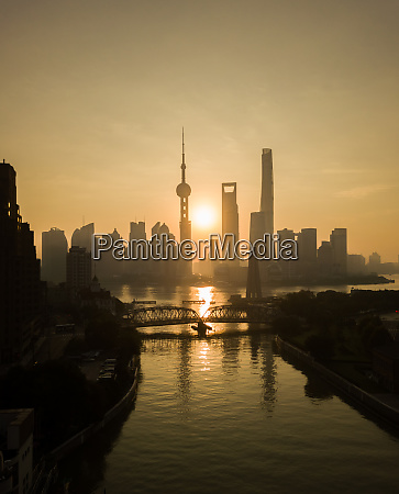aerial view of shanghai skyline at