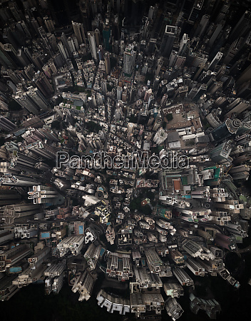 aerial view of downtown buildings in