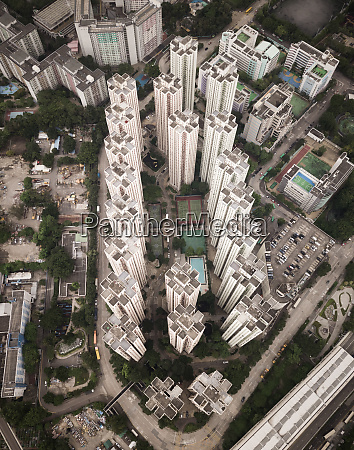aerial view of residential tower blocks