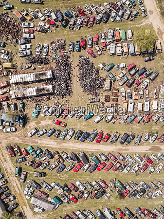 aerial view of a junkyard in