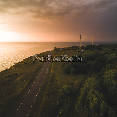 aerial photography of two lighthouses on