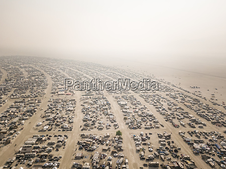 aerial view of burning man festival