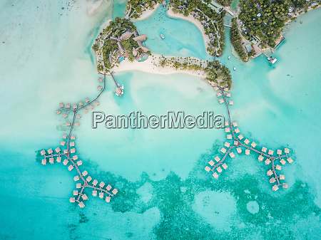 aerial view of touristic bungalow in