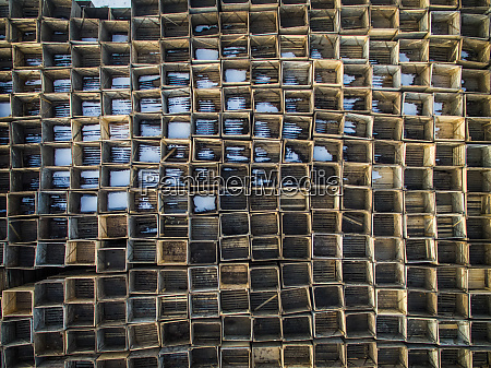 abstract aerial view of wooden boxes