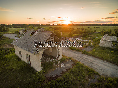 aerial view of an abandoned house