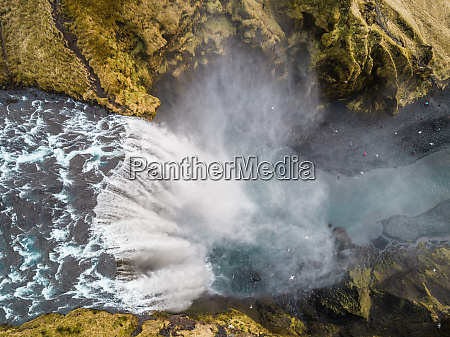 aerial view of skogafoss waterfall