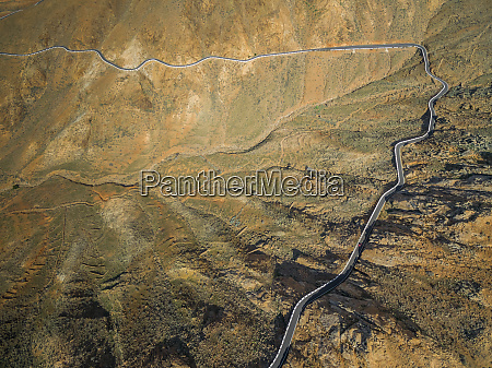 aerial view of the winding mountain