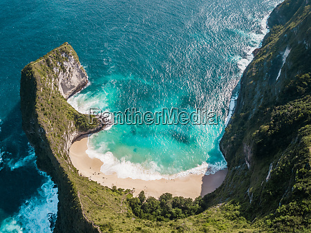 aerial view of cliff in nusa