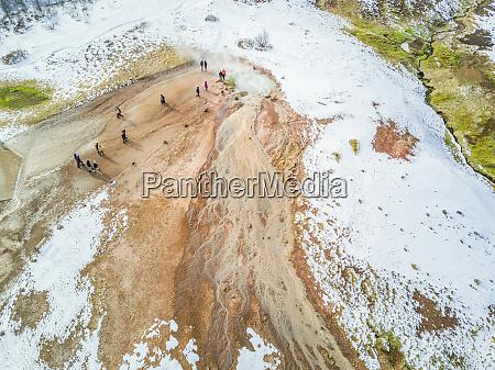 aerial view of visitors in geysir