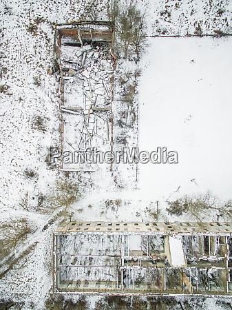 aerial view of a deserted industrial
