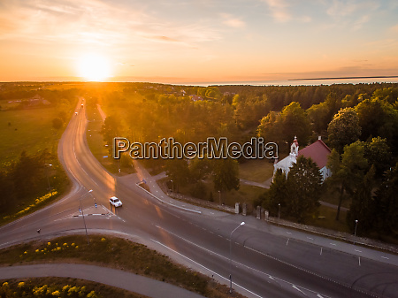 aerial view of a church at