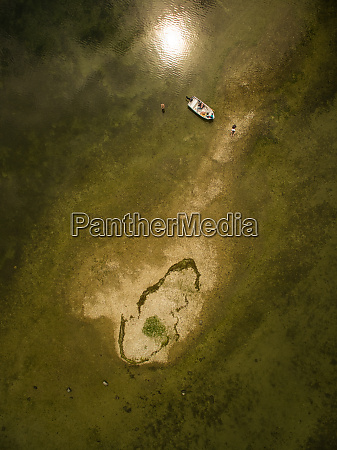 aerial view of a family fishing