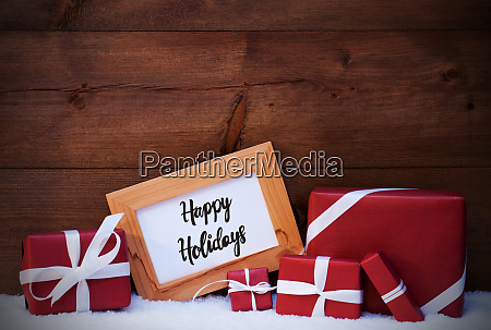 frame red gift snow calligraphy happy