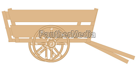 wooden cart on white background is