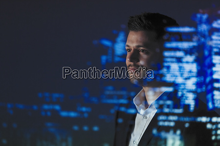double exposure businessman and city skyline
