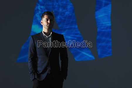 double exposure businessman and ai text