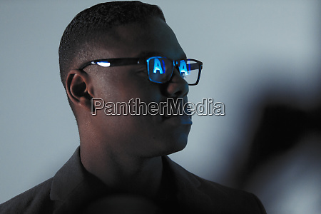 double exposure businessman with reflection of