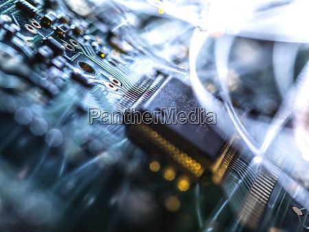 fibre optics carrying data passing through
