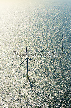 two wind turbines in offshore wind