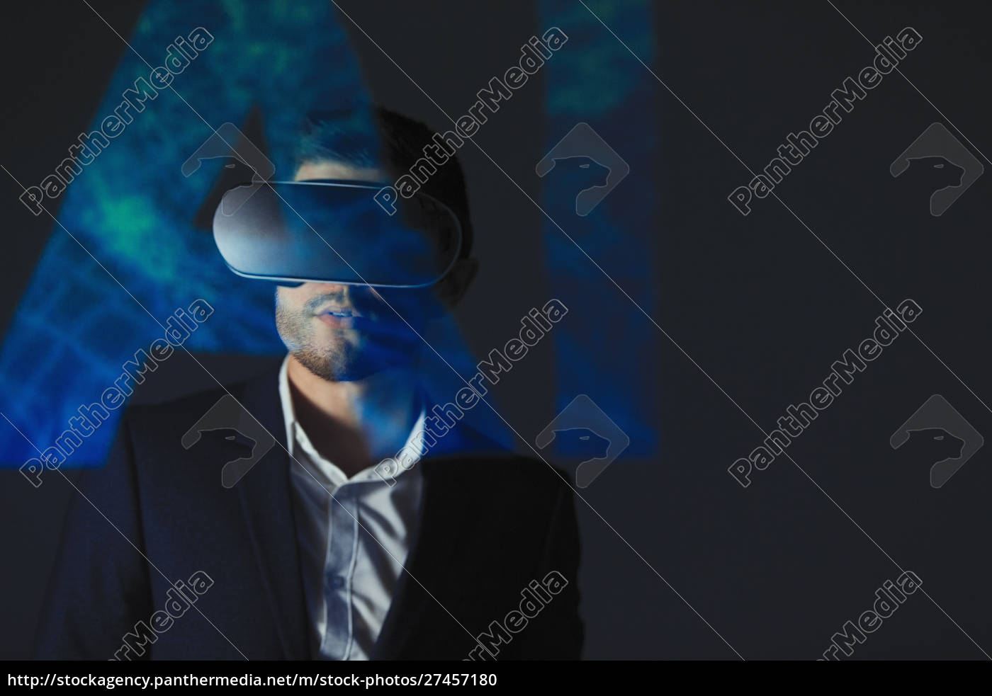 double, exposure, businessman, with, virtual, reality - 27457180