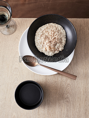 koshihikari rice pudding and coffee
