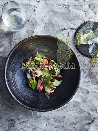 bbq octopus with wakame and potato