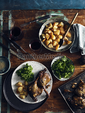 duck confit roast potatoes and broccoli