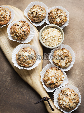 still life of wholemeal muffins on