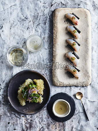 ceviche sushi and flounder tempura with