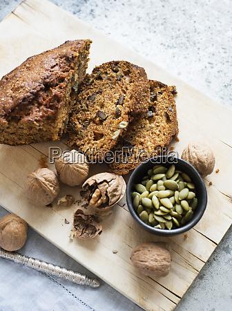 still life of walnut and pumpkin