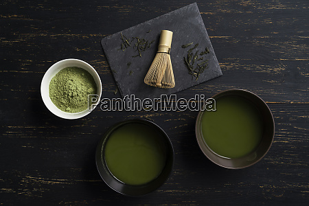 still life of matcha tea preparation