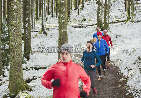 friends jogging in snowy woods