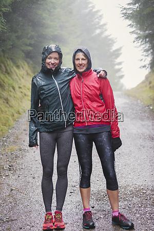 portrait hiking jogging in rain